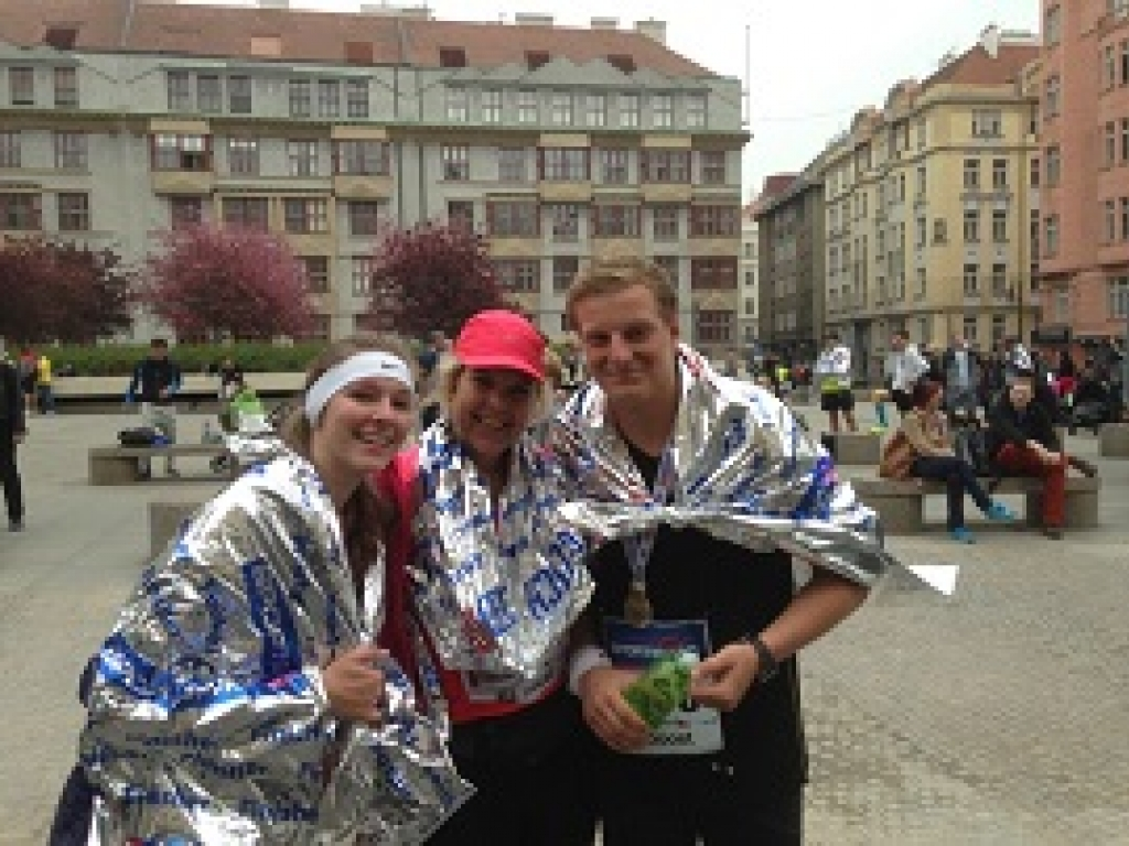 Jana, Barbora and Richard at the finish of Sportisimo Prague Half Marathon (2014)